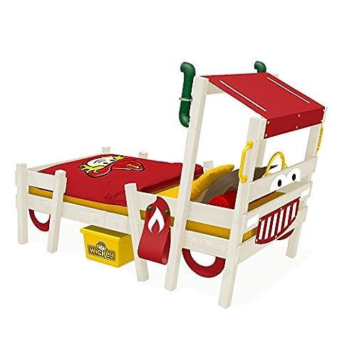 WICKEY Feuerwehrbett CrAzY Sparky Pro Kinderbett 90x200 Spielbett mit Lattenboden und weißer Farbe zum selber