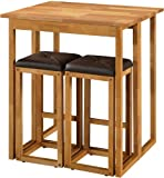 Caspian 2 Seater Breakfast Set With 2 stools Brown PU Seat Pads