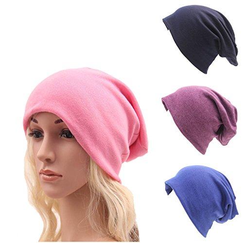 Ever Fairy Chemo Cancer Cotton Head Scarf Hat Cap Ethnic Cloth Print Turban Headwear Women Stretch Flower Muslim Headscarf(3 Colors Pack )
