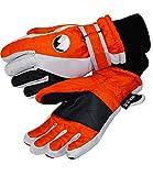 EveryKid Thermohandschuhe Warm Insulation Kinderhandschuhe Jungenhandschue Fingerhandschuhe Strickstulpe Klettverschluss (PT-5524-W16-JU0-ORA-5) in Orange Grau, Größe 5 inkl Fashionguide