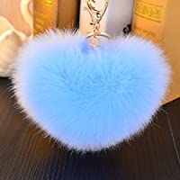 hangnuo 4.7a forma di cuore in finta pelliccia di coniglio palla Pom Pom portachiavi auto Ciondoli per le donne sacchetti, Sky Blue