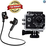 Supreno Wi-Fi 4K Waterproof Sports Action Camera - 4K Ultra HD, 16MP,2 Inch LCD Display With H-850 Jogger Bluetooth 4.1 Wireless Headphones Compatible With All Andriod Devices.