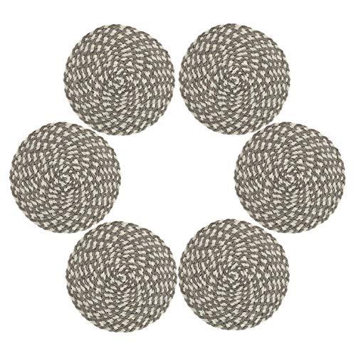 SHACOS Baumwolle Tischsets Rund Abwischbar 15 Zoll Platzsets Hitzebeständig gewebte Tischsets Set von 6 Für Küche Party Dekor