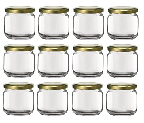 f86362bf5b74 Nakpunar 12 pcs, 6.75 oz Square Glass Jars with Gold Lids - Rounded Edge -  Made in Italy (Gold - 12 Jars)