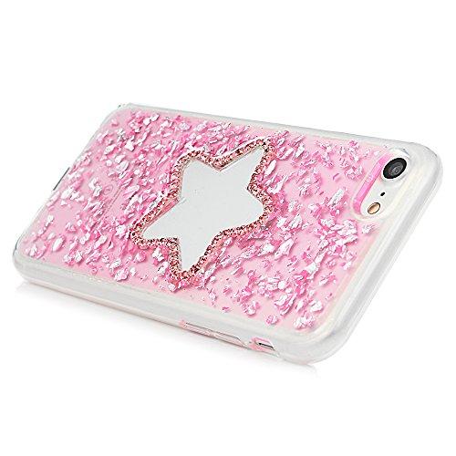 MAXFE.CO Schutzhülle Tasche Case für iPhone 7/iPhone 8 TPU Silikon Cover Glitzern Etui Protective Schale Bumper Eiffelturm Fünfeckiger Stern