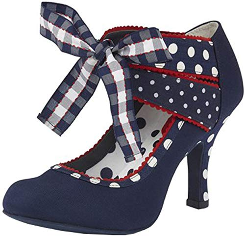 Ruby Shoo Damen Schuhe Aisha Vintage Polka Dot Karo Pumps Blau Geschlossen 39
