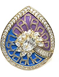 AakarShan Jewels Pear Shape Enamel Ring With AAA+ Cubic Zircon 1Gm Gold Polish Free Size