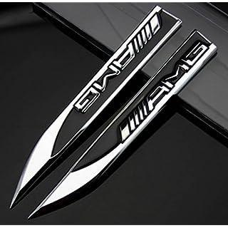 2pcs Auto Car Metal Knife Badge Emblem Decal For Black AMG A B C E S R series