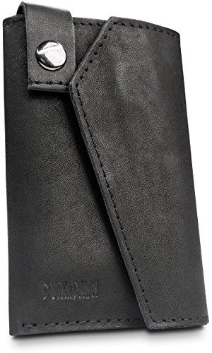 DUSKxDAWN Slim Wallet aus Echt Leder mit RFID Blocker und Magnetverschluss I Kreditkartenetui dünne Brieftasche kleiner Geldbeutel Kartenhalter Mini Geldbörse Portemonnaie (schwarz) (Brieftasche Für Männer-magnet)