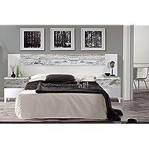 Habitdesign 036093BO - Cabezal y mesitas Vintage, acabado Blanco Brillo y Decapé, medidas: 247x100x34cm de fondo