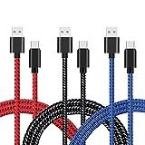 VPR Lot de 3 câbles USB de Type C 3 m en Nylon tressé de Type A vers C pour Galaxy S8/S8+ Plus,...