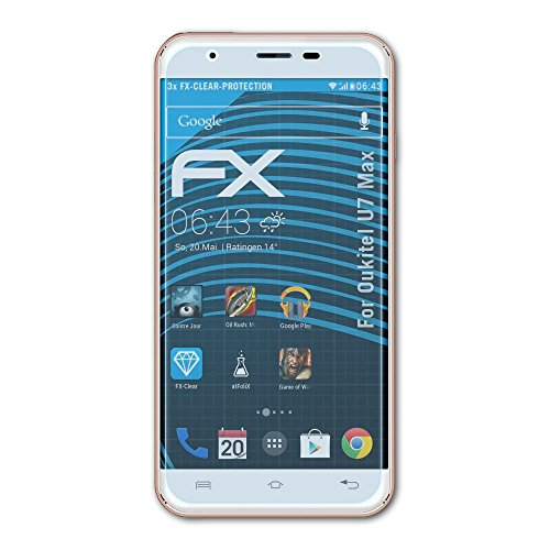 atFolix Schutzfolie kompatibel mit Oukitel U7 Max Folie, ultraklare FX Bildschirmschutzfolie (3X)