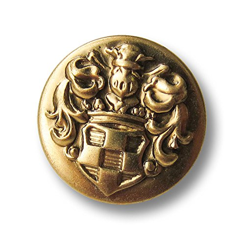 Knopfparadies - 6er Set flache leichte Metallblech Ösen Knöpfe mit edel geschmücktem, reliefartigem Wappen Motiv / altgoldfarben / Metallknöpfe / Ø ca. 18mm - Wappen-knöpfe