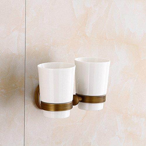 Wansheng Retro Luxus Keramik Muster Basis Doppel Tasse Zahnbürstenhalter, European Classic Gold Doppel Cup Halter, Badezimmer Zubehör Bad Set Material Messing (Zahnbürste-halter Classic)
