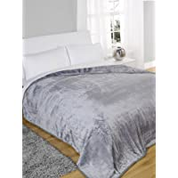 J&T Faux Fur Blanket Throw Mink Sofa Bed Soft Single Double King Size Warm Large (Silver, 200 x 240 cm)