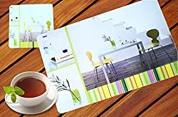 Kolossalz Stylish Dining Table Mats Set of 12 Pieces (6 Mats Cum Placements, 6 Coasters) || Stylish Home Multicolor Printed Mat Set