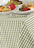 Country Look Gingham Sage 69in (175cm Diameter) Round Tablecloth