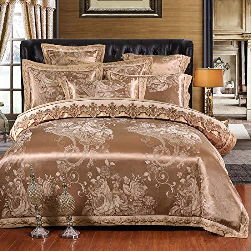 Zebuakuade Einfache Neue Baumwolle Satin Jacquard Bettwäsche Set von Vier Stück (Color : Brown, Size : Queen) -