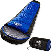 Profi-Mumienschlafsack für 3 - 4 Jahreszeiten, 300 g/m², wasserdicht, 210t Ripstop-Außenschicht für Komfort und Reißfestigkeit, idealer Schlafsack zum Zelten, Wandern und weitere Outdooraktivitäten, Kompressionstasche inklusive