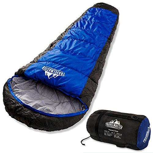 TravelMaster 3-4 Jahreszeiten Mumienschlafsack - 300 GSM - Wasserdicht 210t Ripstop Stoff Schicht Für Bequemheit und Reiss Schutz - Perfekt Schlafsack zum Zelten, Wandern etc - Inklusive Kompression Tasche