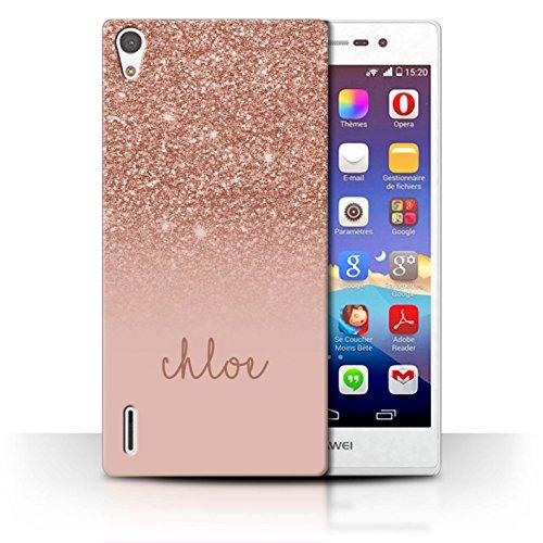 Stuff4® Personalisiert Individuell Glitter Effekt Hülle für Huawei Ascend P7 LTE/Roségold Design/Initiale/Name/Text Schutzhülle/Case/Etui
