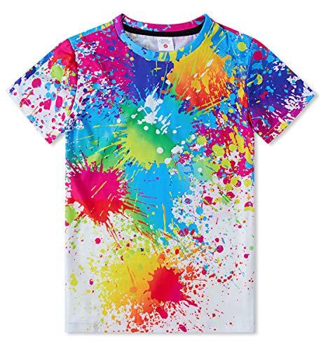 Idgreatim Jungen Aktive Kurzarm T-Shirt 3D Bunte Tinte Gedruckt Kind Mädchen T-Shirt
