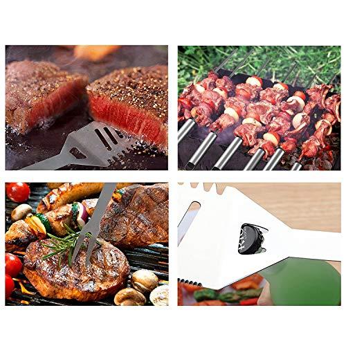 51kDMjndjdL - TOPPERSKY Grillbesteck Set Grillzubehör Grillwerkzeug Edelstahl Besteck Fürs Camping Barbecue(17-Teilig)