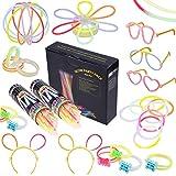 200 Knicklichter Armbänder Glowstick mit 200 Steckverbindern, Dreifache Armbänder, Ein Stirnband, Ohrringe, Blumen, Eine glühkugel & vieles