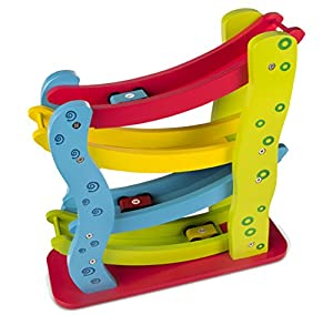 Play & Learn - Roller de madera con 4 coches (ColorBaby 42136)
