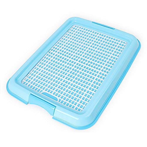 THFPetting Bandejas Protectoras de adiestramiento Double-Layer Flat Medium and Small Grid Dog Toilet Pet Supplies Blue_48*36cm (052202)