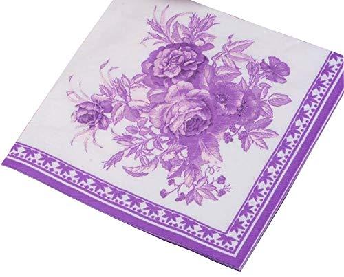 Nvfshreu Lila Gardenia ~ 4 Packs Lila Und Weiße Blumenparty Dinner Einfacher Stil Servietten Zuhause Täglich Elegant Romantische Hochwertig Servietten Tuch (Color : Colour, Size : Size) - Elegante Gardenia
