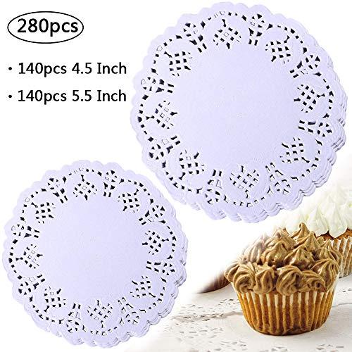 BETOY Spitze Rund Papier, 280 Stück Weiße Papier Untersetzer Zierdeckchen Deckchen Kuchen Verpackung Papier Pad Hochzeit Geschirr Dekoration 11,4cm, 14cm