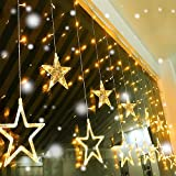 Quntis 2m 12 Sterne Lichterkette Sternenvorhang 138 LEDs Dekolichter, Niedrige Spannung Led, 8 Lichteffekte, Innen Dekoration für Party, Vorhang, Weihnachten, Halloween, Hochzeit (Warmweiß)