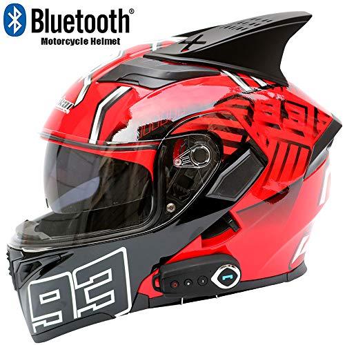 CAKUI Kühlen rotes neues Motorrad Bluetooth Sturzhelm, die zweite Generation Doppel-Objektiv Multi-Funktions-Voice-Vollvisierhelm mit FM und Sprachnavigation, DOT-Zertifizierung,L59~60cm
