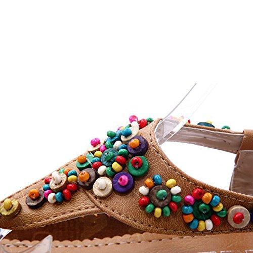 TOOGOO(R) Sandali piatti caviglia T-cinghia di modo di tendenza sandali Boemia Tallone piano in rilievo femmina scarpe dimensioni 5 beige Giallo
