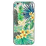 Inonler TPU de silicone souple transparente jaune de fleurs de feuilles de feuilles vertes de vacances sur l'île. schéma coque pour iPhone 6S(4,7