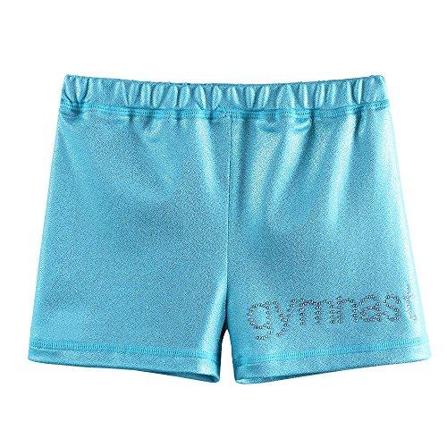 ZNYUNE Kinder Sporthose Gymnastikhose Mädchen Turnhose Mädchen Fitness Tanzhose Shorts Pants Kurz Kurzhose Hellblau M
