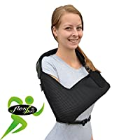 Arm sling, shoulder support. Ultra-comfort, light airflow, extra-deep soft-stretch pocket contours the arm. Waist strap holds arm safely close to body. Reversible for L or R fit. Unisex.