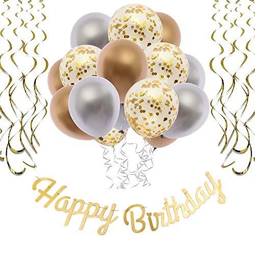 O CAT Metall Gold Silber Geburtstagsdeko Junge und Mädchen Laser Happy Birthday Banner Girlande Luftballon Gold Spiralen 1 10th 16th 18th 21st 30th 40th 50th 60th 70th Geburtstag deko Set