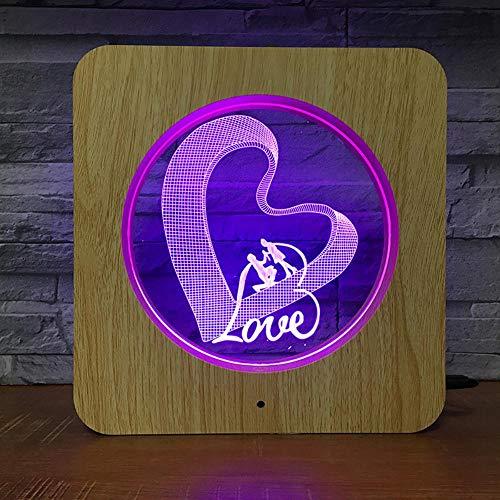 Romantico cuore a forma di luce in legno colorato tocco colore cambiare luce di notte creativa camera da letto