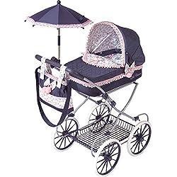 Decuevas Toys Coche muñeca classic romantic, coche con bandeja, bolso y sombrilla, 42 x 68 x 81 cm
