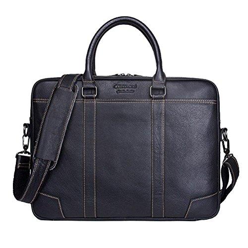 BBO GTUKO Aktentaschen Echtes Leder Männer Messenger Bags Männlichen Schulter Portfolio Laptoptasche Fall Handtasche, schwarz