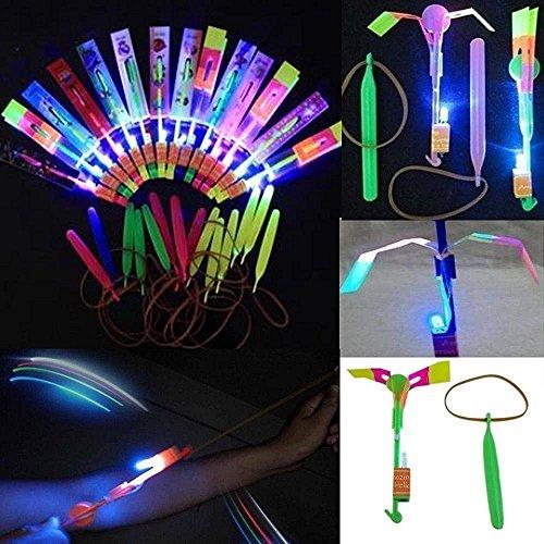 TaoNaisi 48 unidades de cascos de helicóptero con luz LED, juguete volador para fiestas, regalo divertido y elástico