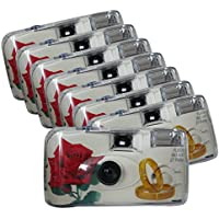 TopShot 376092 Golden Roses Einwegkamera 40027 mit eingebautem Blitzgerät Paket mit 8 Kameras weiß