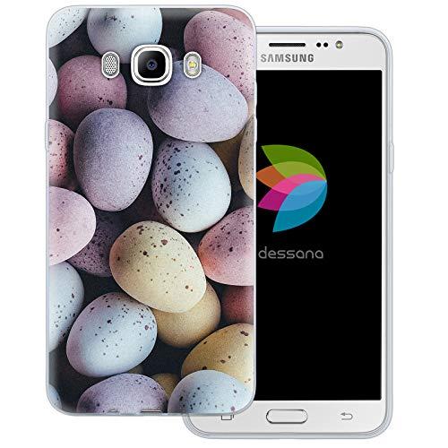 dessana Candy Süßigkeiten Transparente Schutzhülle Handy Case Cover Tasche für Samsung Galaxy J7 (2016) Oster Eier