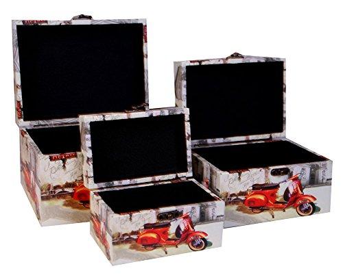 Charming House Design Holz Aufbewahrungsbox Fall 3Set Holz Schmuck Box Case/Schrank/Schmuckkästchen Retro Vintage Rot Scooter (Design-andenken-schmuck-boxen)