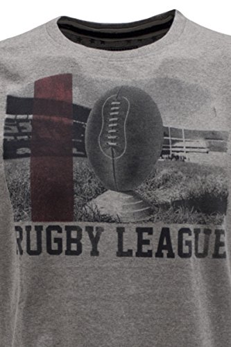 "KITARO Rundhals T-Shirt ""Rugby League"", S-8XL Frost Grey"