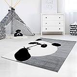 carpet city Kinderteppich Hochwertig mit Panda-Bär in Grau mit Konturenschnitt, Glanzgarn für Kinderzimmer Größe 80/150 cm
