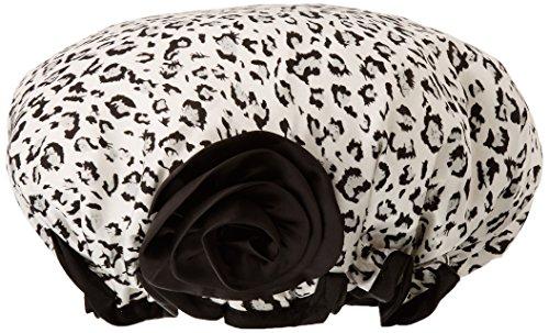 Kella Milla Stylish Satin Shower Cap, Black/White Leopard by Kella Milla Betty White Satin
