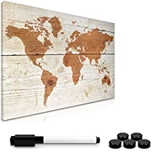 Navaris Tablero de notas magnético | tablero de notas reutilizable 40x60 cm con diseño de mapa mundial | incluye lápiz, imanes y soporte